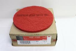 """3M 5100 13"""" Red Buffing Floor Pad - 5/Case - 7910014394464 5"""
