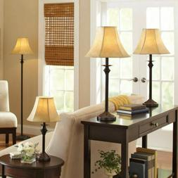 4 Piece Lamp Set Light Floor Table Accent Lamps Vintage Shad